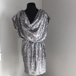silver sequin mini dress